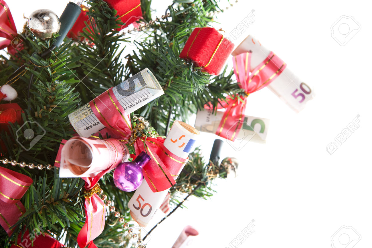 christmas tree with many banknotes, christmas boxes and decoration, white background, isolated,